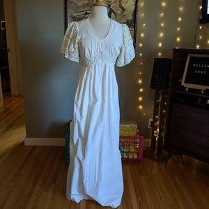 Vintage white Boho Maxi prairie dress